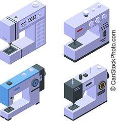 estilo, conjunto, coser, isométrico, iconos, máquina