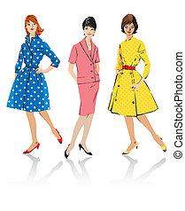 estilo, conjunto, -, elegante, retro, mujeres