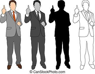 estilo, conjunto, empresa / negocio, 04, hombre
