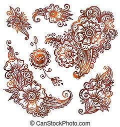 estilo, conjunto, hand-drawn, indio, ornamentos, mehndi