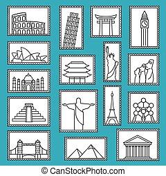 estilo, conjunto, iconos, monumentos, ilustración, símbolos, sellos, vector, línea