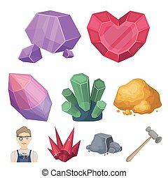 estilo, conjunto, illustration., amd, símbolo, ornaments.precious, joyas, colección, joyero, metals., vector, cristales, icono, caricatura, acción, minerales, costoso, inspecciona