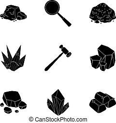 estilo, conjunto, illustration., amd, símbolo, ornaments.precious, joyas, colección, joyero, metals., vector, negro, cristales, icono, acción, minerales, costoso, inspecciona