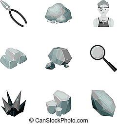 estilo, conjunto, illustration., amd, símbolo, ornaments.precious, joyas, colección, joyero, metals., vector, cristales, monocromo, acción, icono, minerales, costoso, inspecciona