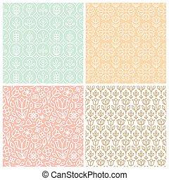 estilo, conjunto, lineal, hojas, seamless, patrones, vector,...