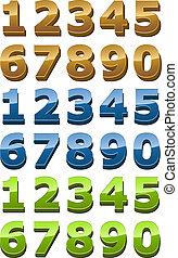 estilo, conjunto, liso, números, brillante, 3d, icono