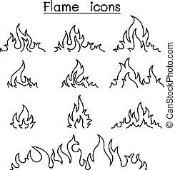 estilo, conjunto, llamas, y, fuego, línea fina, icono