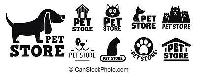 estilo, conjunto, mascota, tienda, logotipo, abierto, simple