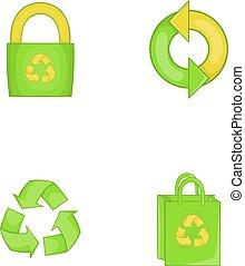 estilo, conjunto, material, reciclar, caricatura, icono