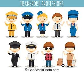 estilo, conjunto, profesiones, vector, caricatura,...