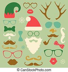 estilo, conjunto, silueta, colorido, moda, hipster, navidad