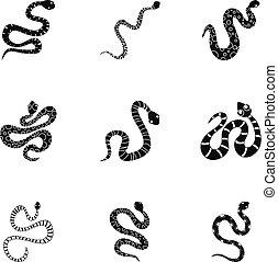 estilo, Conjunto,  simple, serpiente, desierto, icono
