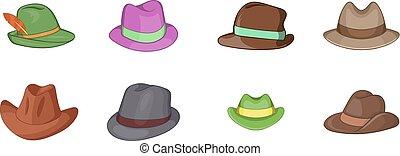 estilo, conjunto, sombrero de panamá, caricatura, icono