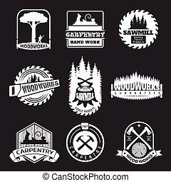 estilo, conjunto, texto impreso, carpintería, vector, retro, logotipo, carpintería