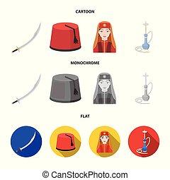 estilo, conjunto, turco, turco, símbolo, iconos, web.,...