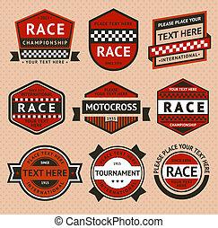 estilo, conjunto, vendimia, -, carreras, insignias