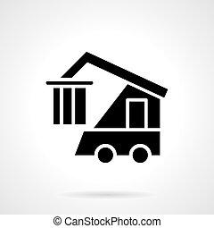 estilo, contenedor, cargador, vector, icono, glyph