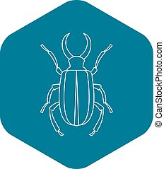 estilo, contorno, cervus, lucanus, escarabajo, icono