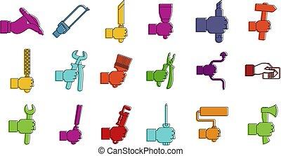 estilo, contorno, conjunto, color, handtool, icono
