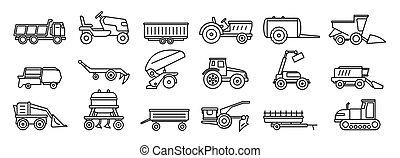 estilo, contorno, iconos, conjunto, equipo, agrícola, ...