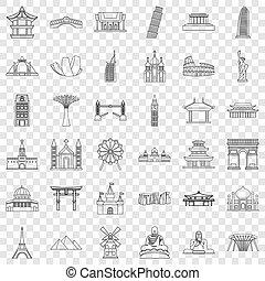 estilo, contorno, iconos, conjunto, lugar famoso