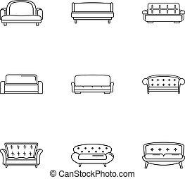 estilo, contorno, iconos, conjunto, sofá, cama