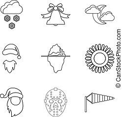 estilo, contorno, iconos, conjunto, tiempo, frío