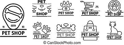 estilo, contorno, iconos, mascota, conjunto, tienda