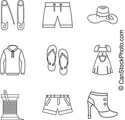 estilo, contorno, justo, iconos, conjunto, comercio, ropa