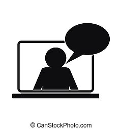 estilo, conversa, simples, online, ícone