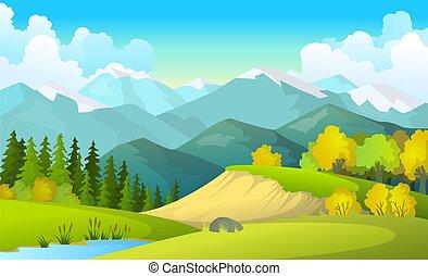 estilo, cor, bandeira, campos, céu, colinas, alvorada, fundo, apartamento, luminoso azul, verde, vetorial, ilustração, caricatura, verão, país, bonito, paisagem