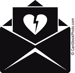 estilo, correo, simple, divorcio, carta, icono