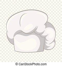 estilo, cozinheiro, ícone, chapéu branco, caricatura