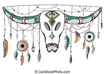estilo, cranio, tribal, boho, fundo, touro