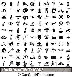 estilo, crianças, ícones, jogo, simples, atividade, 100