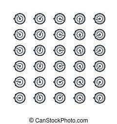 estilo, cronómetro, conjunto, vector, glyph, icono, avisador