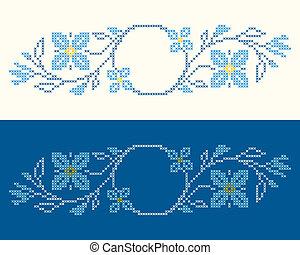 estilo, cruz-ponto, bordado, ukrainian