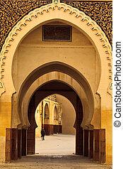 estilo, curvar, serie, morisco, mezquita, patio, marruecos, ...