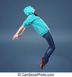 estilo, dançarino, hip-hop, femininas