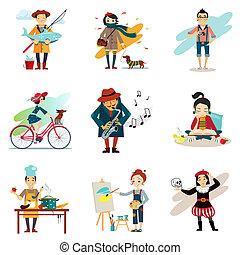 estilo de vida, conjunto, estilo de vida, iconos, sano,...
