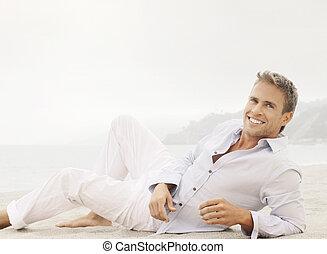 estilo de vida, macho, modelo, con, sonrisa