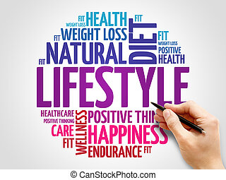 estilo de vida, palabra, nube, condición física