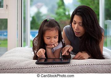 estilo de vida, tableta, digital