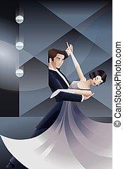 estilo, deco, arte, bailando, cartel, pareja, geométrico