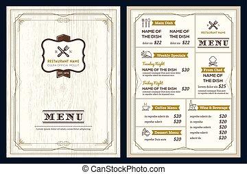 estilo, deco, arte, menu restaurante, quadro, desenho, retro, modelo, vindima, café, ou