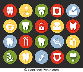 estilo, dental, conjunto, iconos, plano