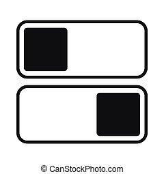 estilo, desligado, ligado, simples, interruptor, toggle, ícone, posição