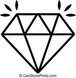 estilo, diamante, contorno, mina, icono