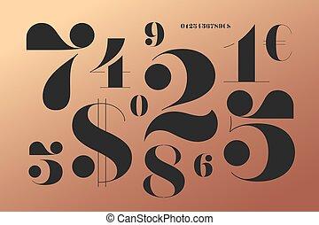 estilo, didot, clásico, francés, números, fuente