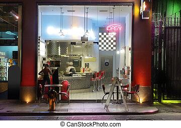 estilo, diner, 1950s, noturna